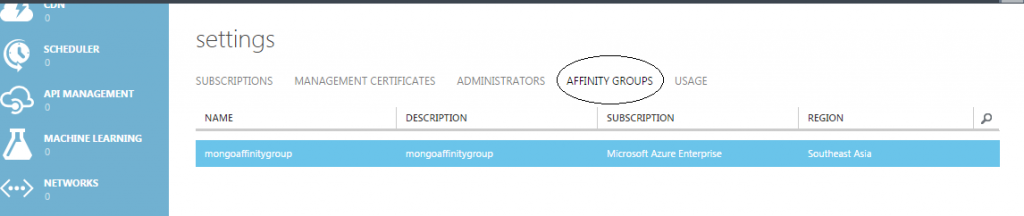 Azure affinity group