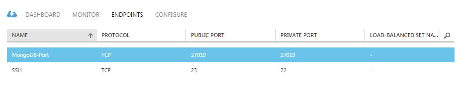 Mongo Azure instance 3 Endpoints