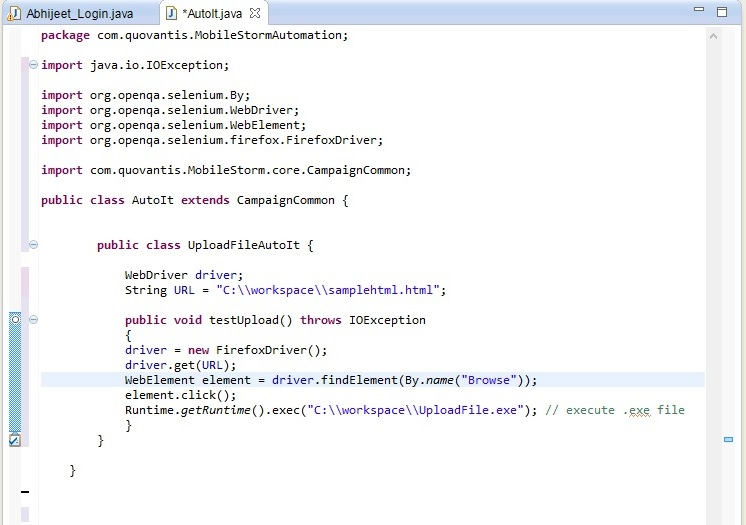 executable file in your selenium code