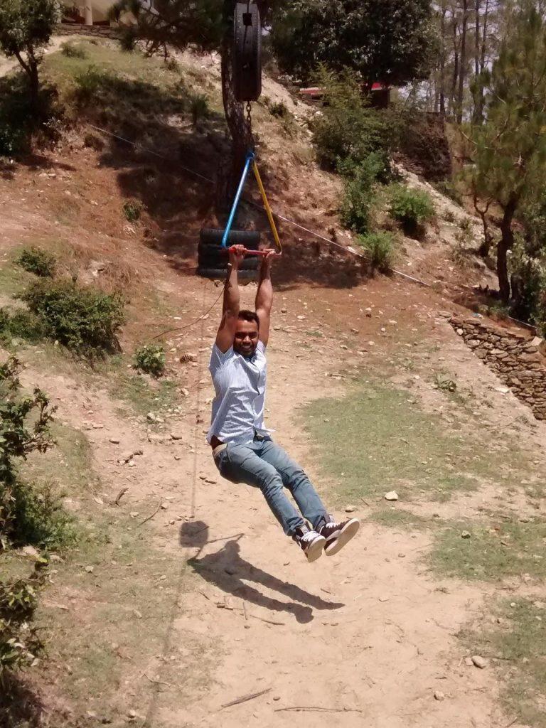 Tarzan zhoola near Chauli ki Jaal - CSR trip to Arohi Bal Sansar