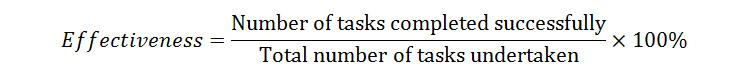 formula for effectiveness of a task completed