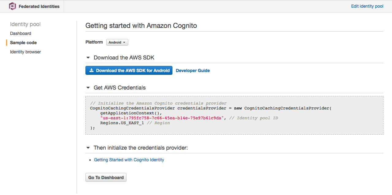 last step in setup of AWS cognito