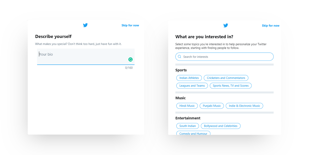 Twitter's onboarding screens