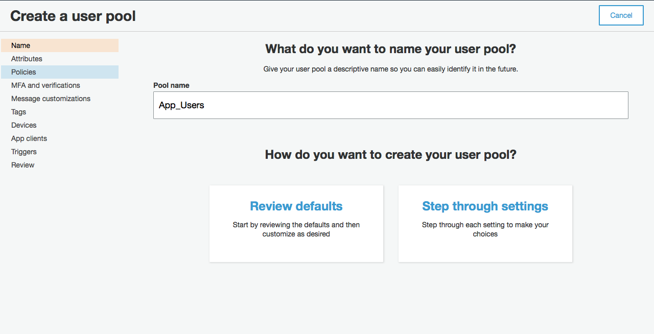 example screen for creating user pool