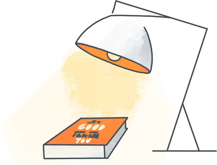A lampshade with the book- so good they can't ignore you
