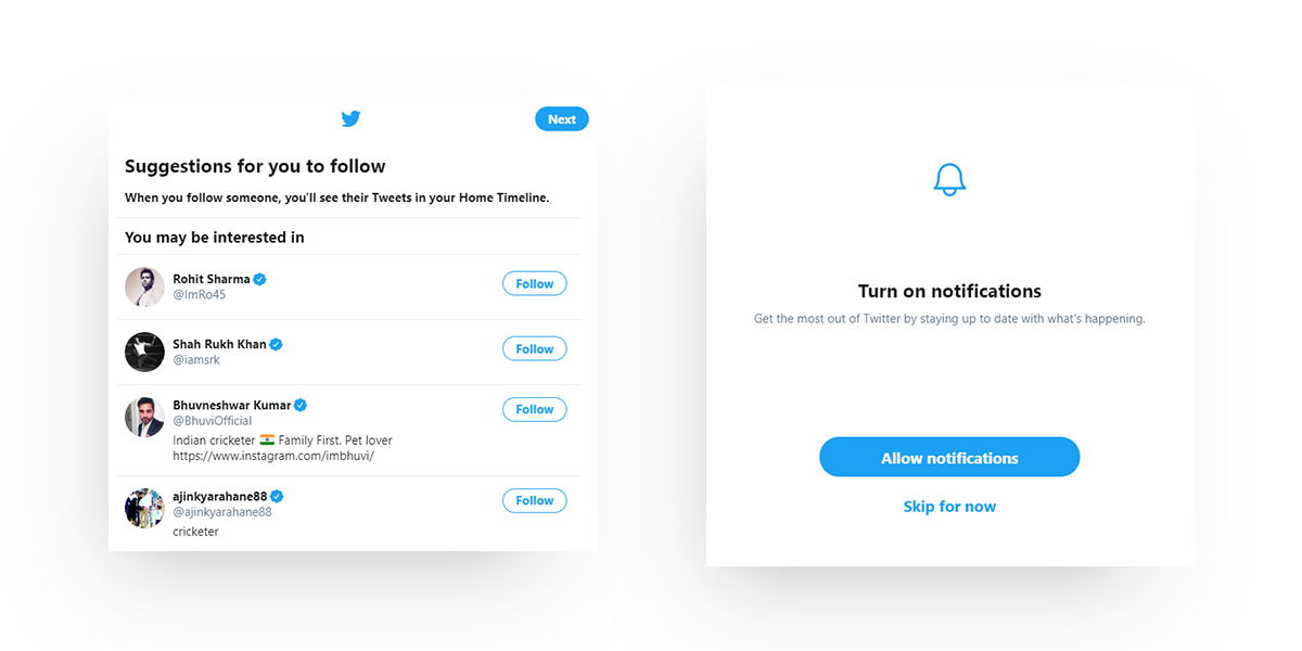 How twitter onboards its new users