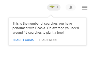 Ecosia tells users how many trees have been planted by you