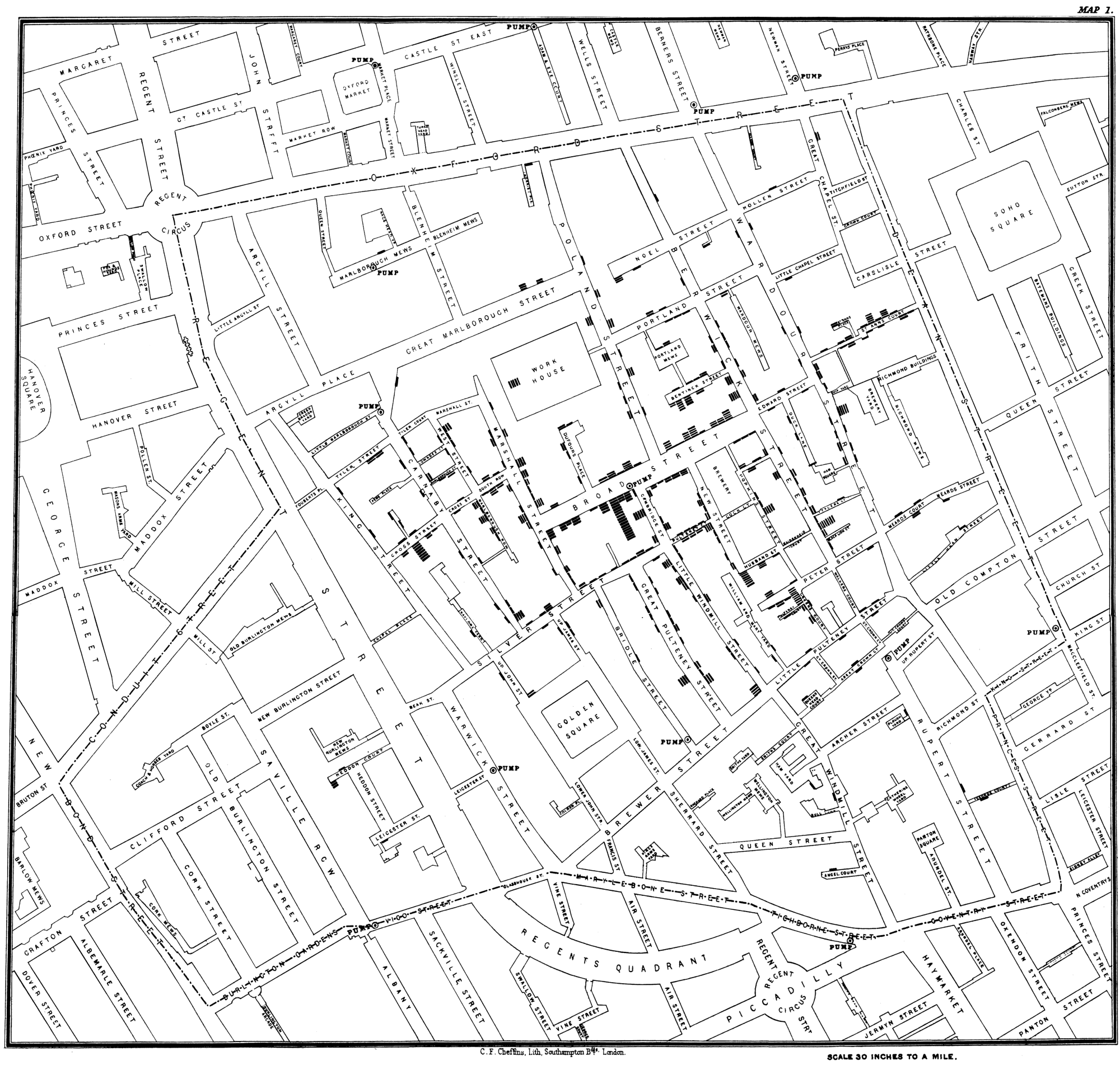 Snow's 1854 map London's public wells and cholera cases